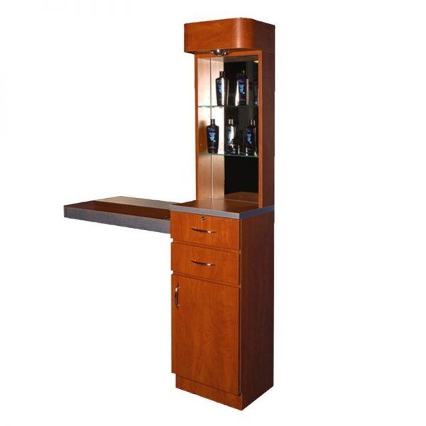 Tower Styling Station with Mirrored Back Storage and Display Miami, FL